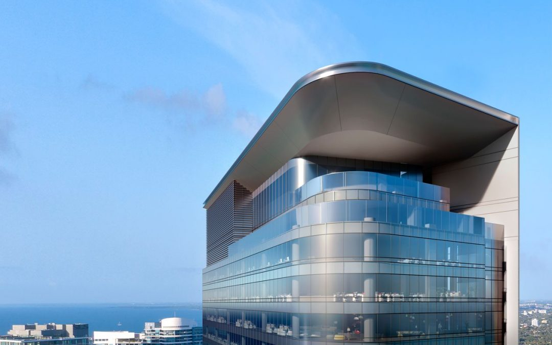 NEW RENDERING OF MIAMI'S TALLEST UNDER-CONSTRUCTION OFFICE TOWER SHOWS MORE SILVER, LESS GOLD WHERE ROOFTOP BAR PLANNED